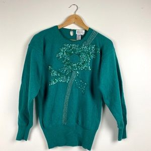 Vintage Embellished Sequinned Sweater